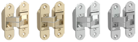• Balamale 3D sunt comercializate individual. Balamale 3D pentru uși fără falț sunt disponibile în următoarele nuanțe: auriu, auriu mat, argintiu, argintiu mat